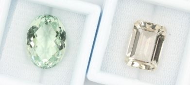 Lot loose coloured gemstones , comprised of:bevelled gold topaz, 9.41 ct, in emerald cut; bevelled