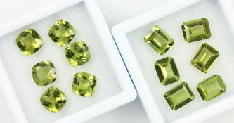 Lot 12 loose peridots , total approx. 24.5 ct, 6 x in emerald Cut, 6 x cushion cut Valuation