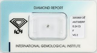 Loose brilliant 0.24 ct Top Wesselton (F)/vs2, polish: good, with IGI expertise, sealed Valuation