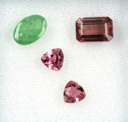 Lot 4 loose tourmalines , total approx. 4.8 ct, comprised of: 1 x rectangularly bevelled, 2 x