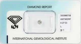 Loose brilliant 0.27 ct Top Cape(L)/si1, polish: good, with IGI expertise, sealed Valuation Price:
