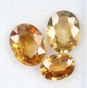 Lot 3 loose zircones , total approx. 9.87 ct, oval bevelled, honey yellow Valuation Price: 760, -