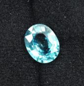Loose blue zircon , approx. 7.84 ct, oval Valuation Price: 670, - EUR