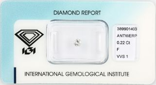 Loose brilliant 0.22 ct Top Wesselton (F)/vvs1, cut and polish: good, with IGI expertise, sealed