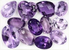 Lot 12 loose amethysts , total approx. 80.83ct, in different cuts and sizes, predominant oval (1