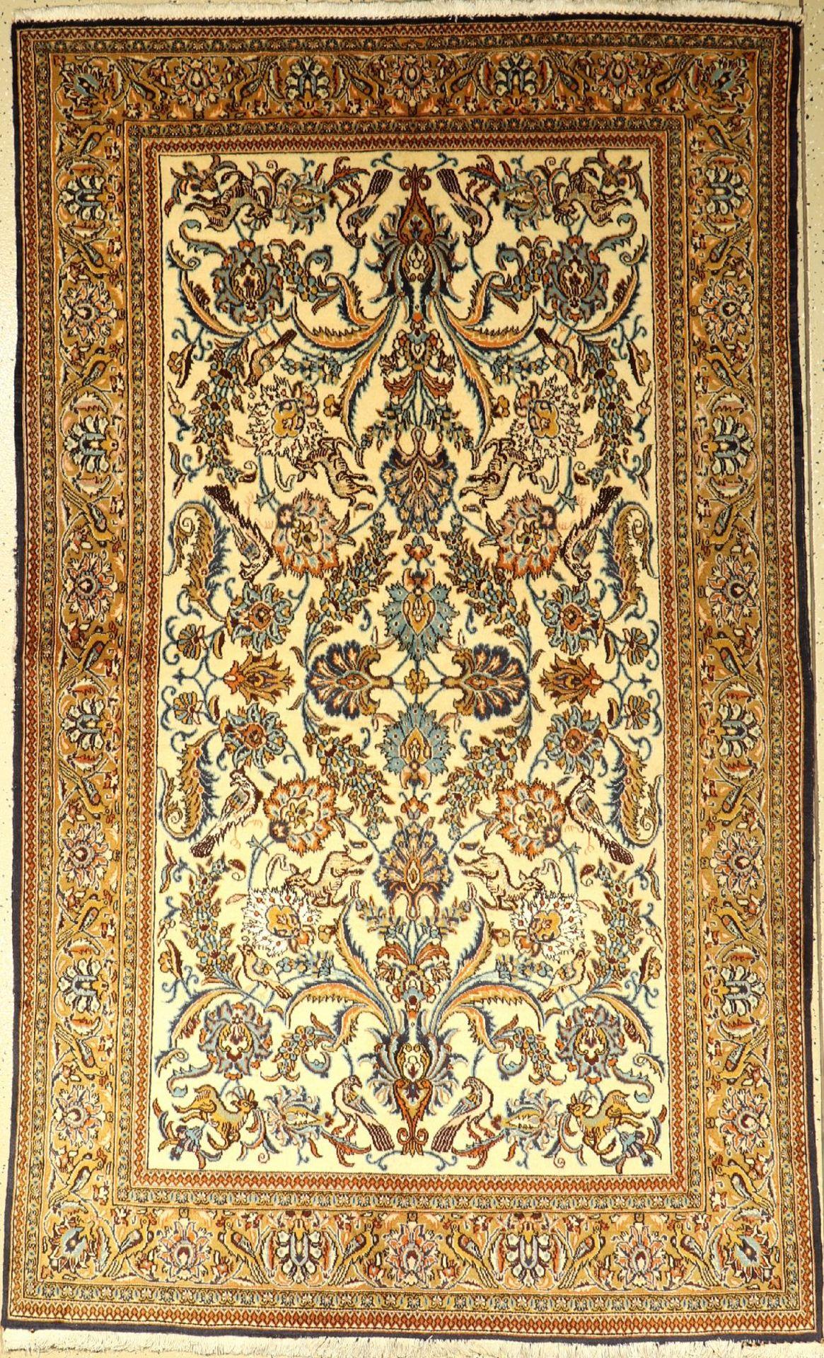 Ghom, Persien, ca. 40 Jahre, Wolle mit Seide, ca. 220 x 130 cm, EHZ: 2