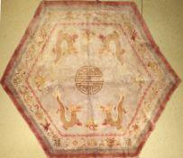 China Seide Drachenteppich, ca. 50 Jahre, reine Naturseide, ca. 265 x 310 cm, EHZ: 2-3
