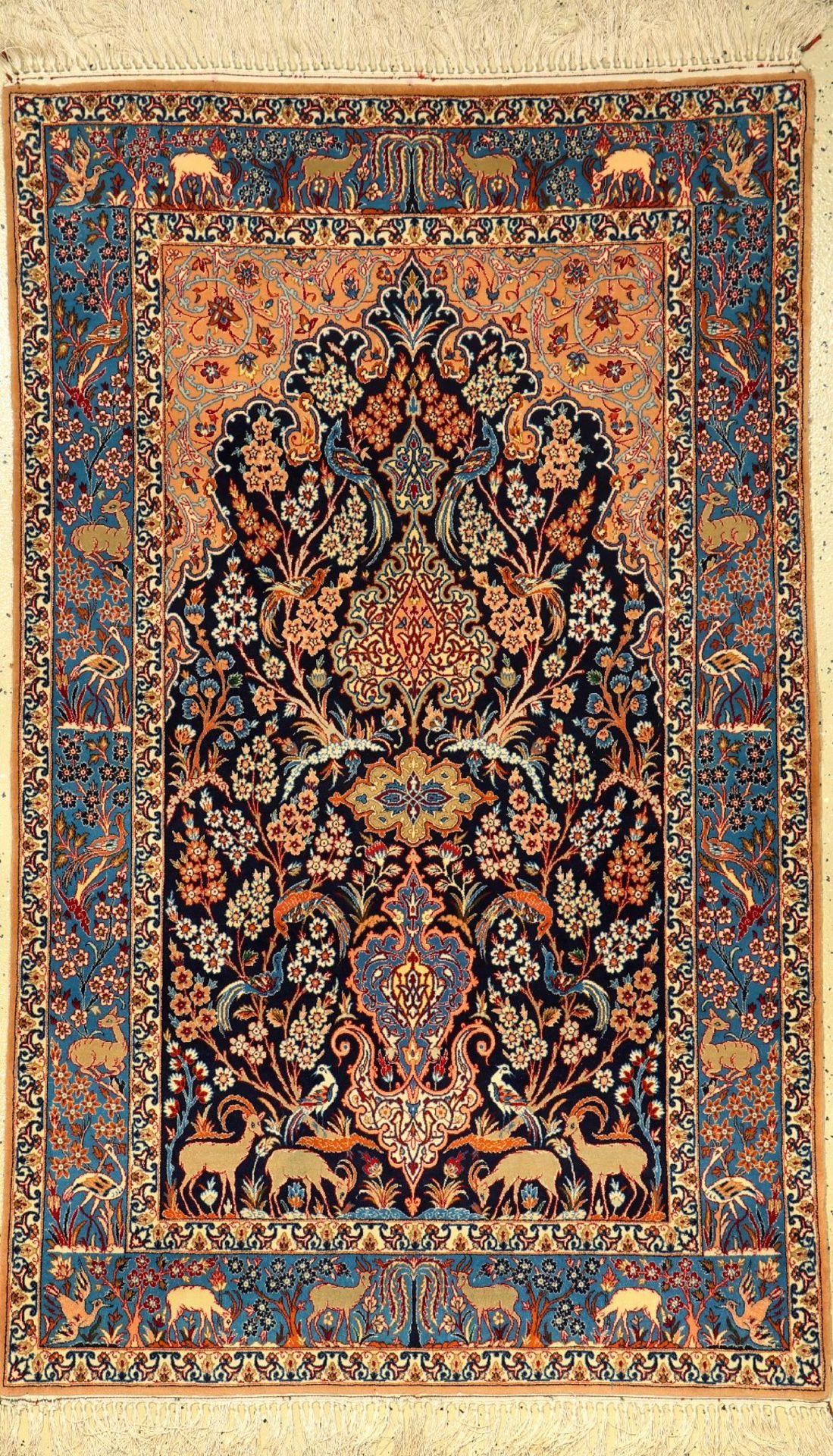 Esfahan fein, Persien, ca. 30 Jahre, Korkwolle auf Seide, ca. 171 x 106 cm, EHZ: 2-3