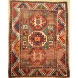 Grüner Bordjalou Kasak antik, Kaukasus, 19.Jhd., Wolle auf Wolle, ca. 210 x 166 cm, Memling-Gül