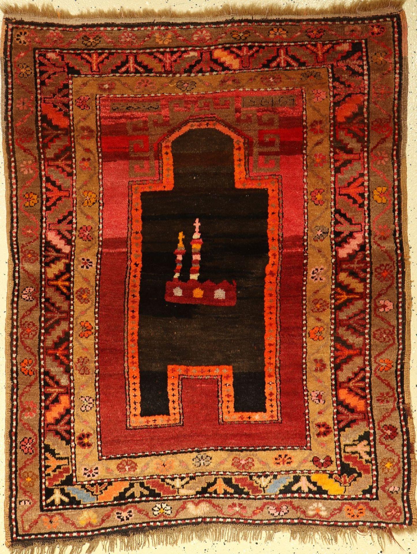 Karabagh Gebetsteppich alt, Kaukasus, um 1930, Wolle auf Wolle, ca. 140 x 98 cm, EHZ: 2-3
