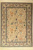 Nain fein (6 La ), Persien, ca. 50 Jahre, Korkwolle mit Seide, ca. 150 x 110 cm, EHZ: 2