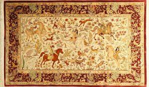 Ghom Seide fein Signiert, Persien, ca. 20 Jahre, reine Naturseide, ca. 160 x 98 cm, ca. 1,0 Mio.
