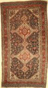 Gaschgai antik, Persien, 19.Jhd., Wolle aufWolle, ca. 222 x 120 cm, EHZ: 4 (gleichmäßig dünn)