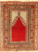 Anatol Gebetsteppich alt, Türkei, um 1930, Wolle auf Wolle, ca. 145 x 111 cm, EHZ: 4