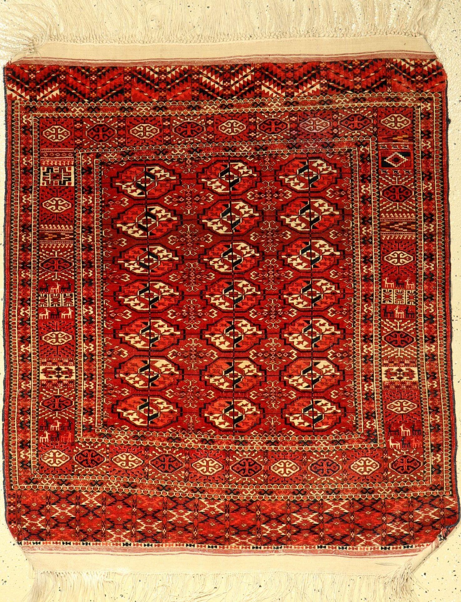Tekke Hochzeitsteppich antik, Turkmenistan,um 1900, Wolle auf Wolle, ca. 123 x 111 cm, EHZ: 2-3