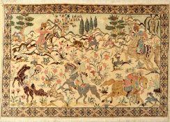 Ghom Seide fein Signiert, Persien, ca. 20 Jahre, reine Naturseide, ca. 151 x 101 cm, ca.1,0 Mio.