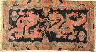 Khaden Drachenteppich alt, Tibet, um 1920, Wolle auf Wolle, ca. 185 x 85 cm, EHZ: 3
