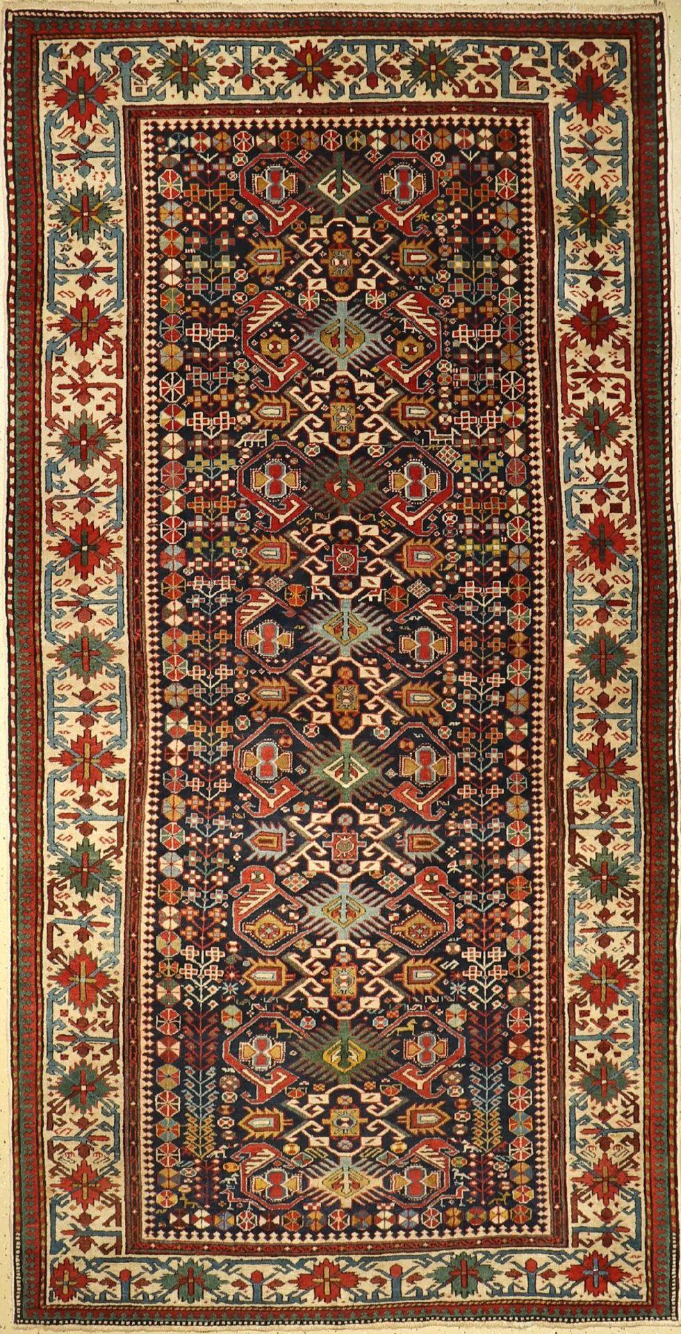Schirwan alt, Kaukasus, um 1920, Wolle auf Wolle, ca. 290 x 149 cm, EHZ: 2-3