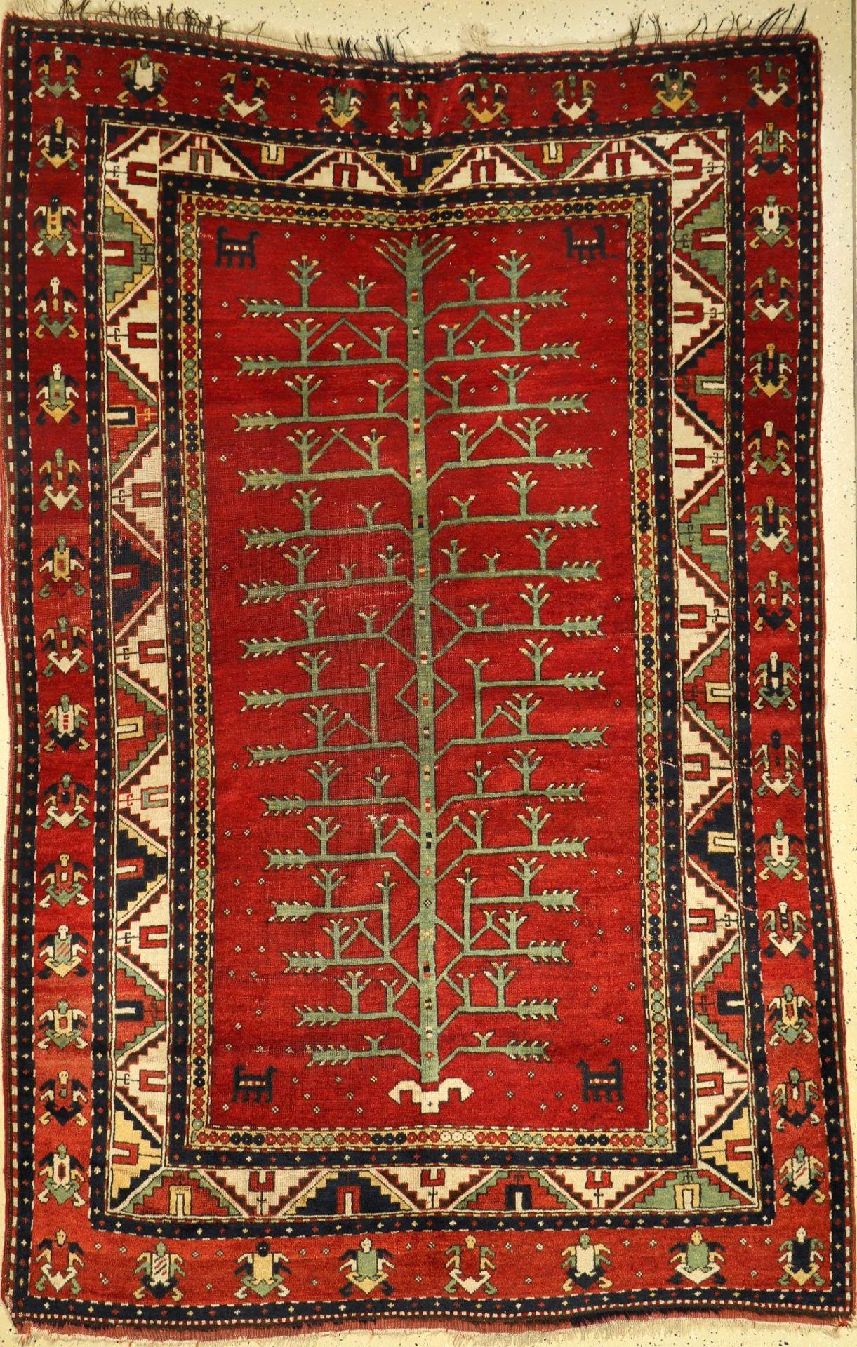 Baum Kasak antik, Südwestkaukasus, Ende 19.Jhd., Wolle auf Wolle, ca. 245 x 160 cm, (Alters und