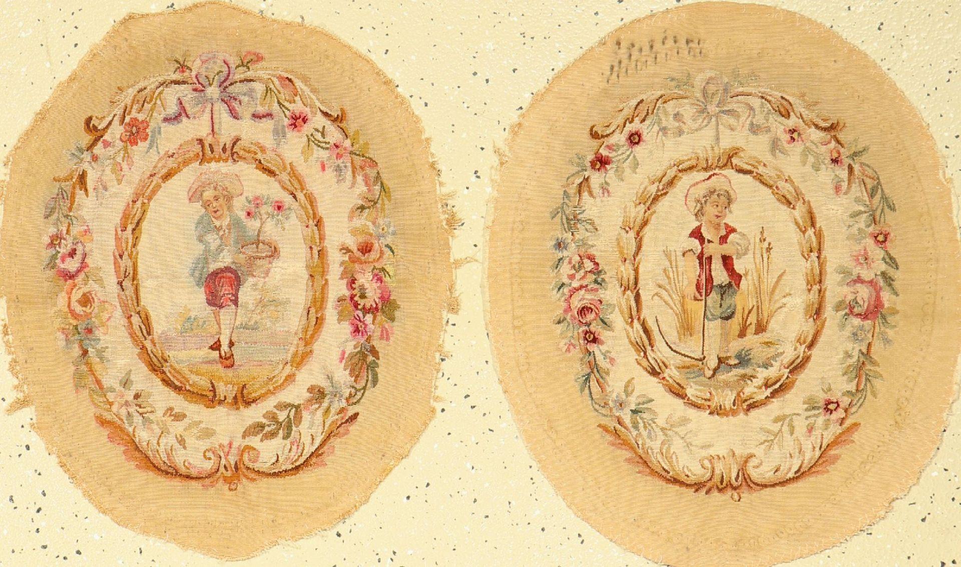 1 Paar Aubosson Seide antik, Frankreich, 19.Jhd., Seide, ca. 57 x 47 cm, EHZ: 4