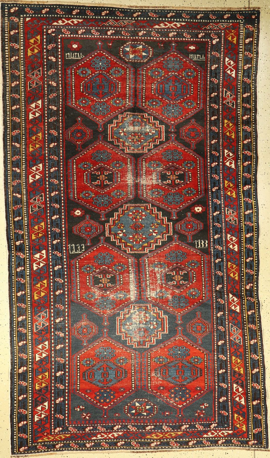 Schirwan alt, Ostkaukasus, ca. Datiert 1933 Jahre, Wolle auf Wolle, ca. 272 x 156 cm,EHZ: 4