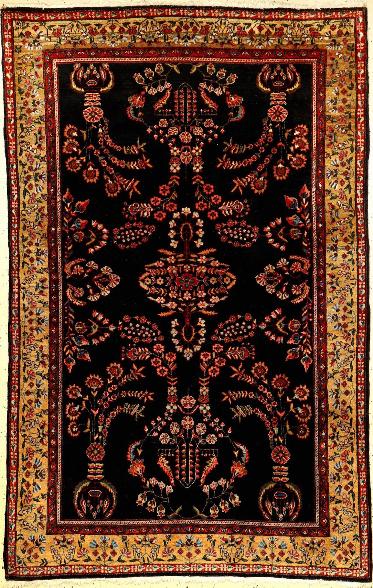 Feiner Sarogh Farahan alt, Persien, um 1920, Korkwolle, ca. 200 x 128 cm, HochwertigeQualität,