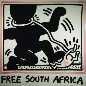 Keith Haring, 1958-1990, Free South Africa, lithograph, signed by hand, framed under glass, sheet