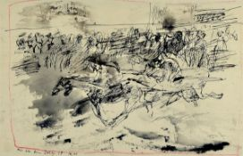 "Horst Janssen, 1929-1995, Indian ink and red colored pencil, ""for Ele to Derby"", Indian inkdrawing"