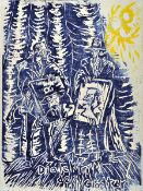 Jörg Immendorff, 1945-2007, woodcut in colors on wove paper, very rare color in blue and yellow,