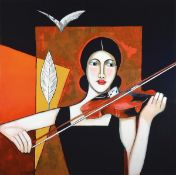Silvia Sartelet, born 1947 Berlin, representation of women with violin, acrylic /canvas, signed on
