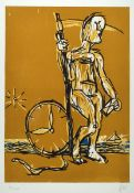 Markus Lüpertz, born 1941, time travel, etching and woodcut, on thick wove paper (Canson Gravure