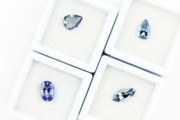 Lot 4 tanzanites: with PGTL-expertise: 1 x marquise approx. 1.23 ct, treated, bluish violet; 1 x