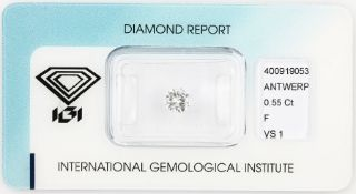 Loose brilliant, 0.55 ct, Top Wesselton(F)/vs1, 5.51 - 5.59 x 3.10 mm, sealed with IGI- expertise