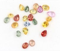 Lot loose coloured sapphires total 7.5 ct, different shapes Valuation Price: 1200, - EUR