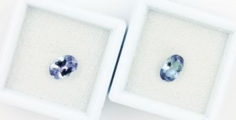 Lot 2 tanzanites , 1 x 1.19 ct, oval bevelled bluish violet (treated), PGTL- expertise; 1 x 1.14 ct,