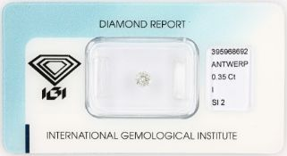 Loose brilliant , 0.35 ct, Crystal(I)/si2, 4.30 - 4.36 x 2.84 mm, sealed with IGI - expertise