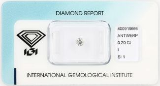 Loose brilliant , 0.20 ct, Crystal(I)/si1, 3.85 - 3.93 x 2.25 mm, sealed with IGI - expertise