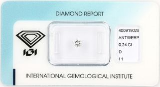 Loose brilliant, 0.24 ct , River(D)/p1, 3.94- 4.03 x 2.41, sealed with IGI-expertise Valuation