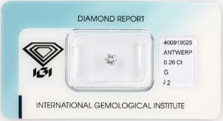 Loose brilliant , 0.256 ct, Top Wesselton (G)/p2, 4.15 - 4.23 x 2.42 mm, sealed with IGI-expertise