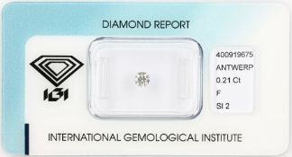Loose brilliant, 0.21 ct, Top Wesselton(F)/si2, 3.81 - 3.86 x 2..25 mm, sealed with IGI -