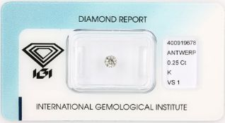 Loose brilliant , 0.25 ct, Top Cape(K)/vs1, 4.08 - 4.15 x 2.43 mm, sealed with expertise Valuation