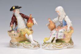pair of figurines, Dresden, Potschappel, Middle of 20th c., couple of gardeners, girl with hen
