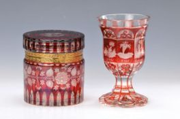 lid box and goblet, Bohemia, 19. and 20 th c.,colorless glass, ruby red: goblet with cut decor