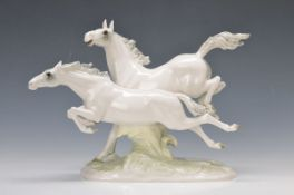 """figurine, Hutschenreuther Art Department, Max Hermann Fritz, """"In Freiheit"""", galloping grey horse,"""