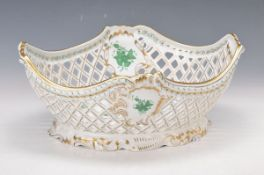 oversized basket bowl, Herend, Apponyi green, breakthrough work, interior and external painted,