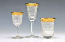 drinking glass set, German, around 1920/30, colorless glass, opulent polished, shaded decor and