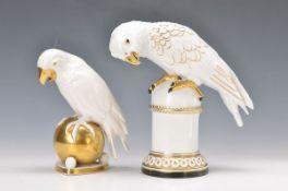 two figurines, Art Nouveau, parrots, Hutschenreuther, around 1900/10, 1 design by Fritz Klee, gold