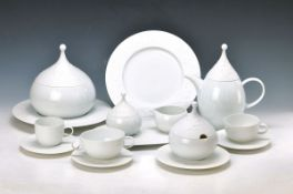 coffee-, tea- and Dinner set, Rosenthal, ModelThe Magic Flute in white, designed by Björn