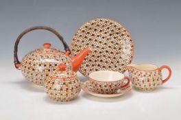tea set, Villeroy & Boch, 1930s, Model Konfetti, earthenware, spray decor in Orange, yellow and