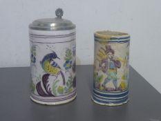two jugs, Thuringia, 18. th c., 1 slightly reddish clay, with light glaze, bird decor on white